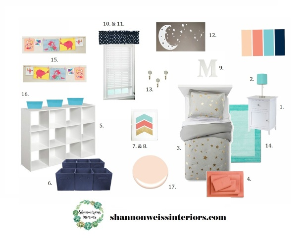 Watkins Girl's Bedroom Inspiration Board