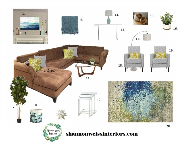 Taflin Family Room Inspiration Board